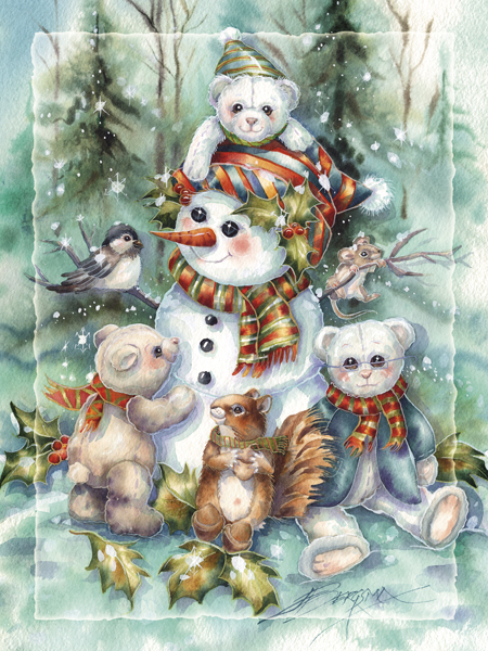Bear Holidays - Easel Back Tile