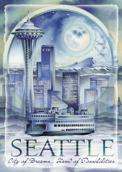 Cityscape / Seattle... City Of Dreams... - Magnet