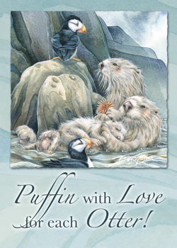 Puffin With Love For Each Otter - Magnet