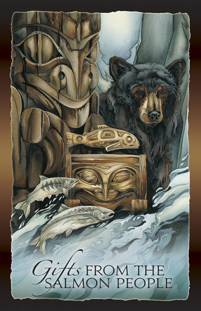 Bears (Black) / Gifts Of The Salmon People - 11 x 14 inch Poster