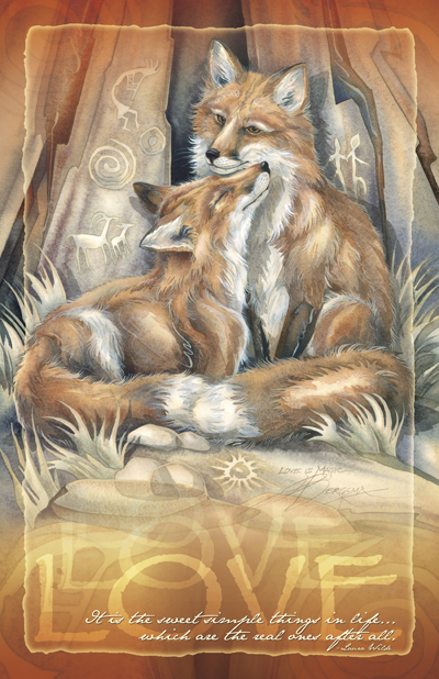 Foxes / Love's Way - 11 x 14 inch Poster