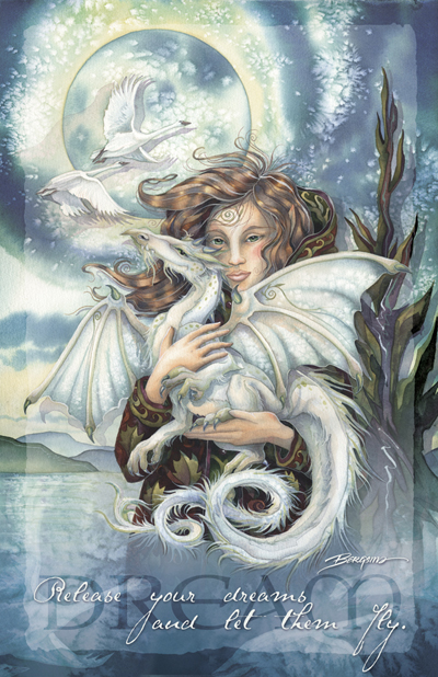 Mythological Creatures (Dragons) / Release Your Dreams - 11 x 14 inch Poster
