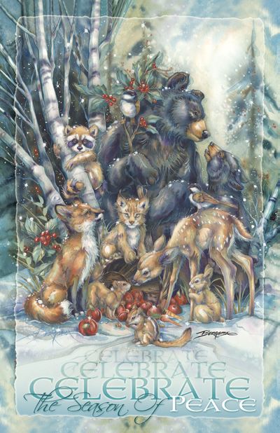 Multiple Animal Types / Celebrate The Seson Of Peace - 11 x 17 inch Poster