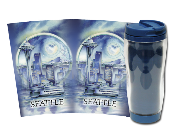 Cityscape / Seattle... City Of Dreams - Travel Mug