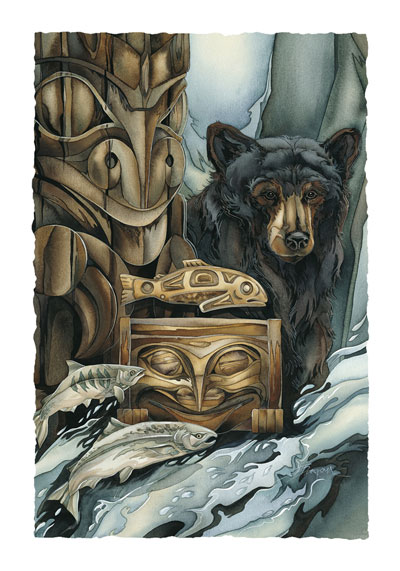 Bears (Black) / Gifts Of The Salmon People - Art Card