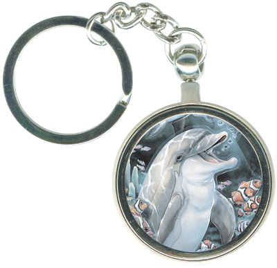 Dolphins / Peace, Love & Laughter - Key Chain