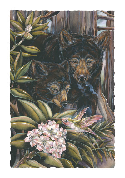 Bears (Black) / The Heart Needs Friendship... - Art Card