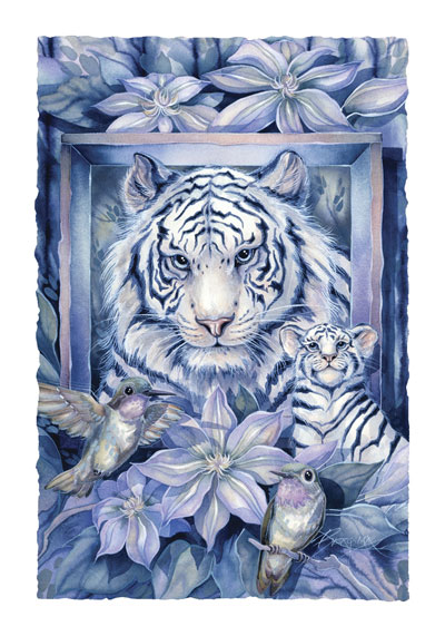 Wild Cats / At Home In The Garden - Art Card