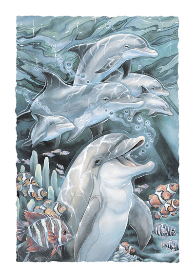 Dolphins / Peace, Love & Laughter - Art Card