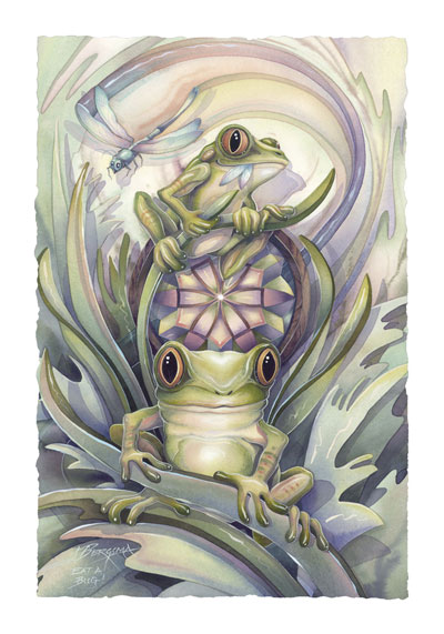 Frogs / Don't Worry, Be Hoppy - Art Card