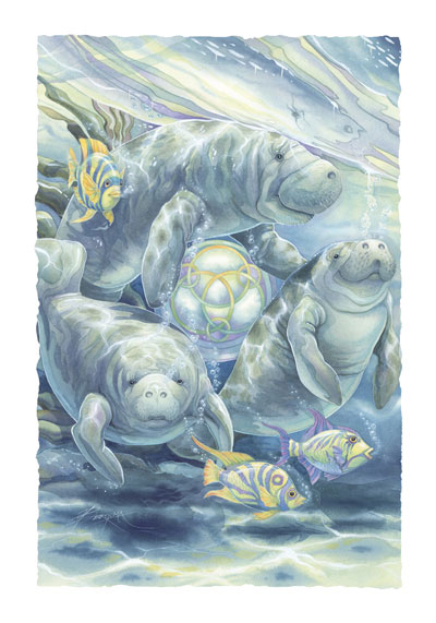 Manatees / In The Caring Of The Wild... - Art Card