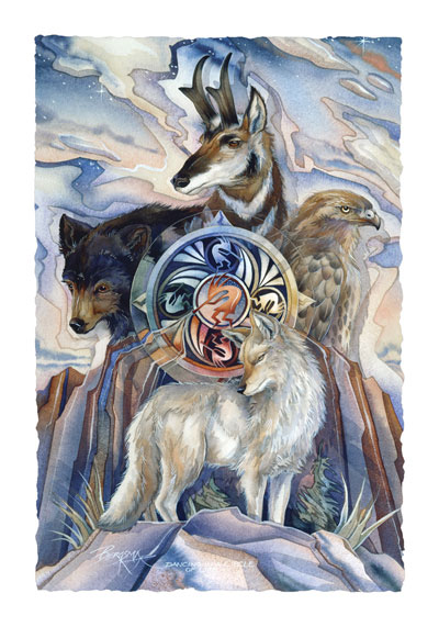 Multiple Animal Types / Dancing In A Circle Of Life - Art Card