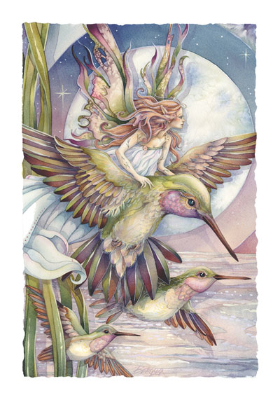 Faeries / Amid Hummers Night Dream... There's Magic On The Wind - Art Card