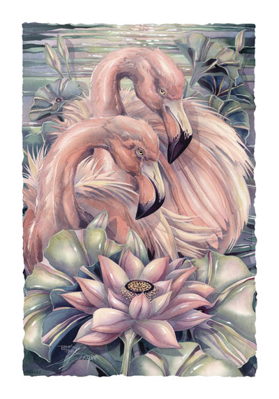 Flamingos / Think Pink... Live On The Bright Side - Art Card