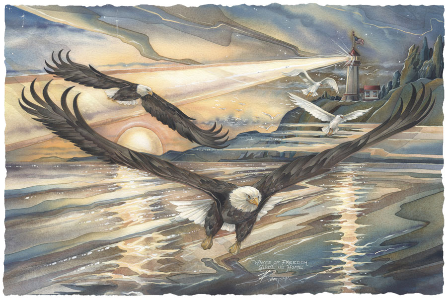 Eagles (Bald) / Wings Of Freedom... - Art Card