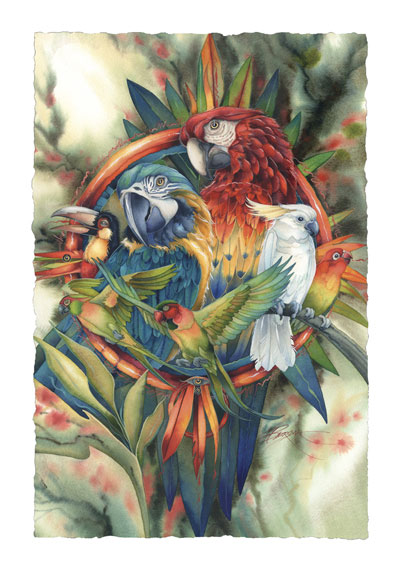Parrots / Celebrate Life's Many Colors - Art Card