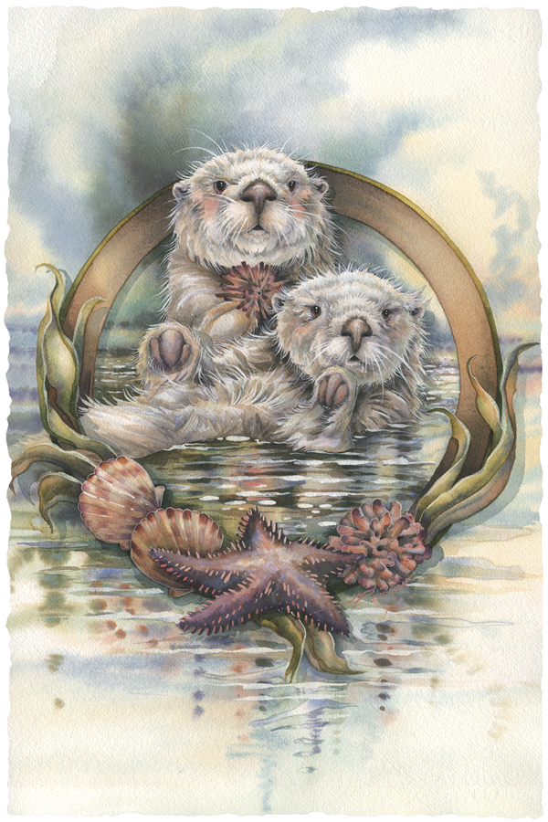 Otters / Stars Of The Sea. - Art Card