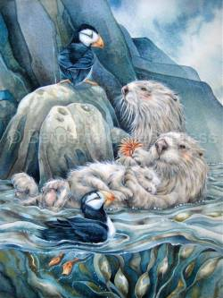Puffin With Love For Each Otter - Art Card