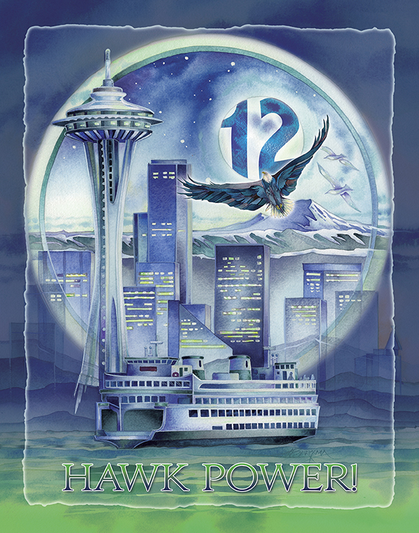 Seattle - Hawk Power! Poster