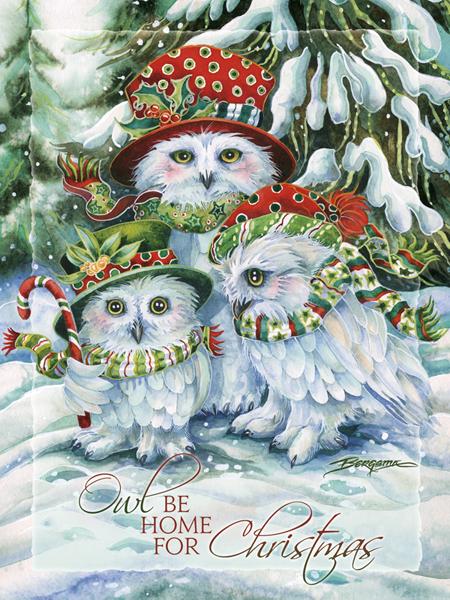 OWL Be Home For Christmas - Easel Back Tile