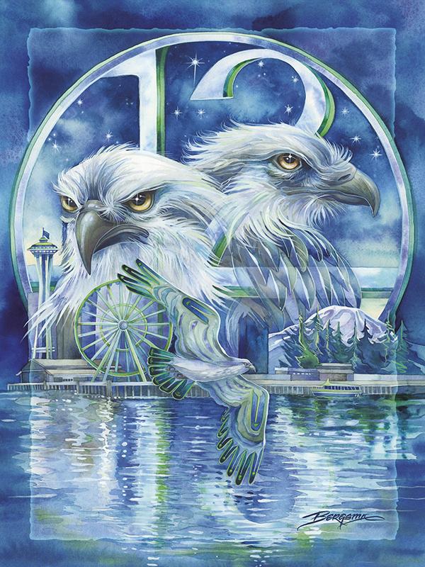 Seattle - Hawks Soar - Easel Back Tile