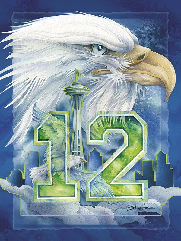 Seattle - Hawk Nation - Easel Back Tile