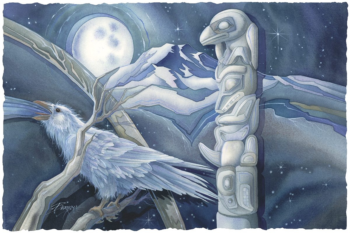In The Beginning... One White Raven - Prints