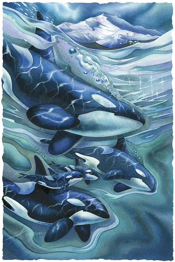 Orca Clan...Side By Side Forever Small Prints (Click for options & image enlargement)