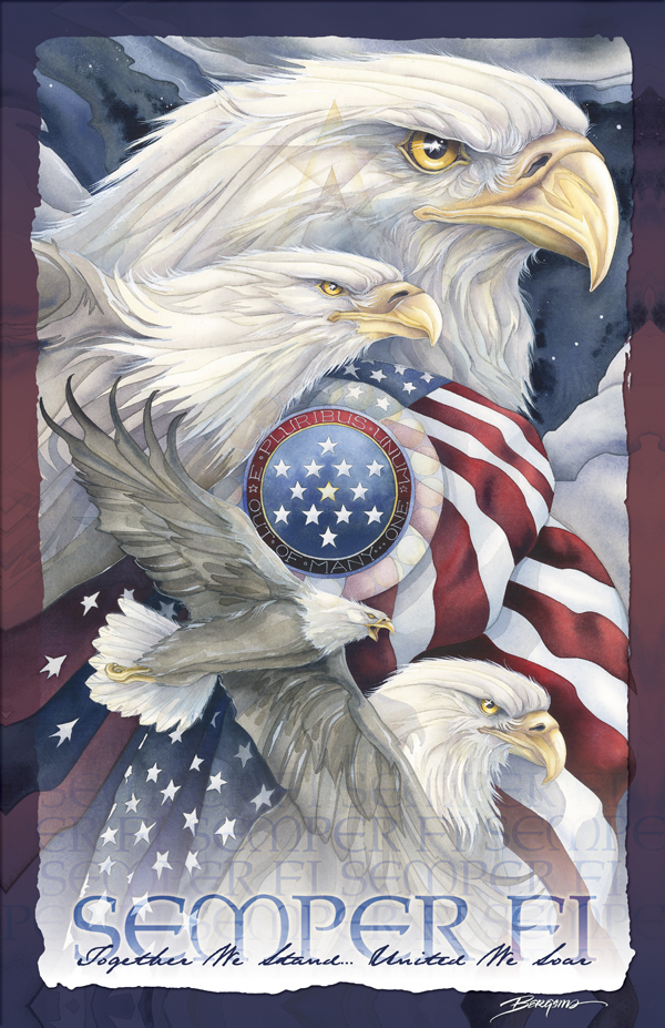 Eagles / Semper Fi - 11 x 14 in Poster