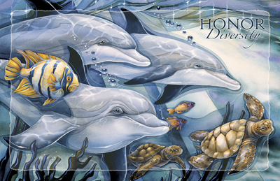 Dolphins / Honor Diversity - 11 x 17 inch Poster