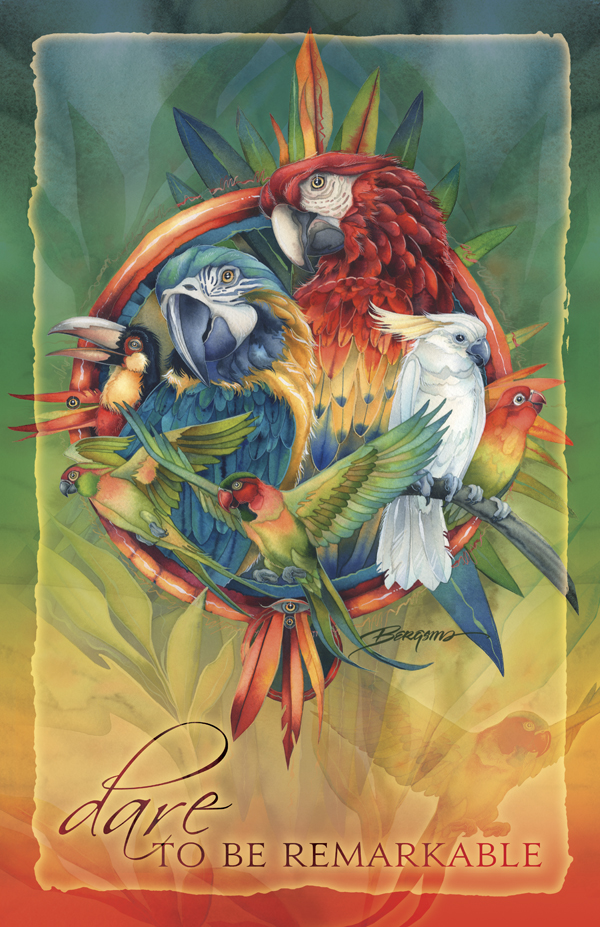 Parrots / Celebrate Life's Many Colors - 11 x 14 in Poster