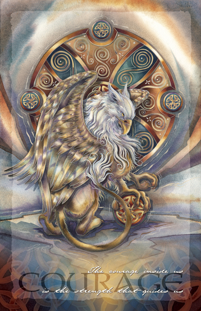 Mythological Creatures (Gryphon) / The Courage Inside Us... - 11 x17 inch Poster