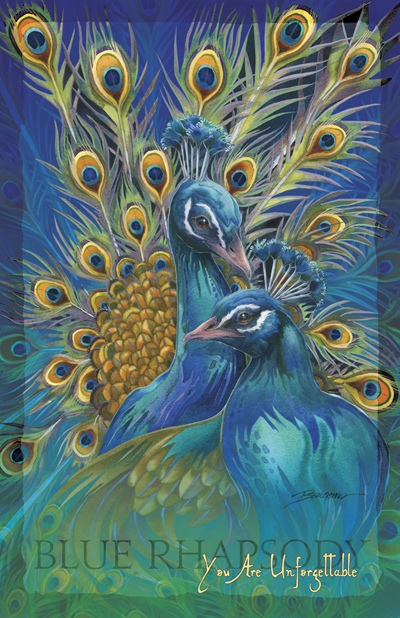 Peacocks / Blue Rhapsody - 11 x 14 inch Poster