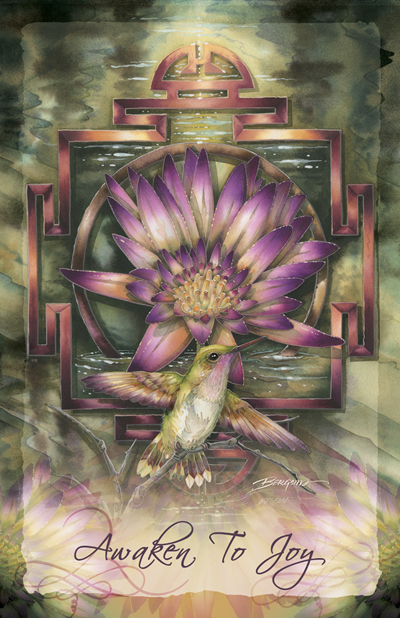 Hummingbirds / Awaken To Joy - 11 x 17 in Poster