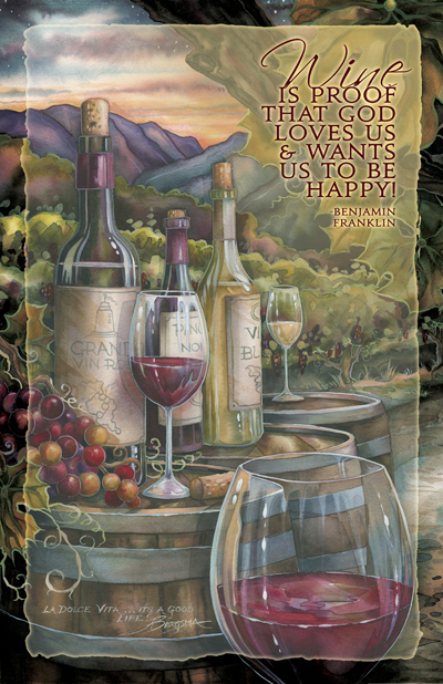 Vineyard / Wine Is Proof - 11 x 14 inch Poster