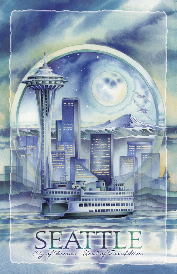 Cityscape / Seattle... City Of Dreams - 11 x 17 in Poster