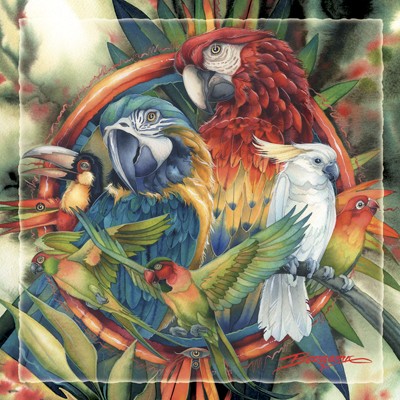 Parrots / Celebrate Life's Many Colors - Tile