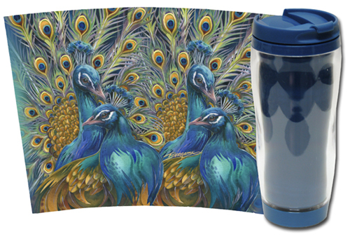 Peacocks / Blue Rhapsody - Travel Mug