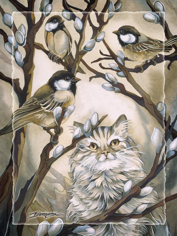 Here Birdie, Birdie - Easel Back Tile