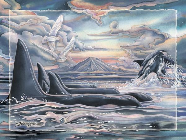 'Orca Strait' Easel Back Tile