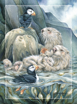 'Puffin with Love for each Otter' Easel Back Tile