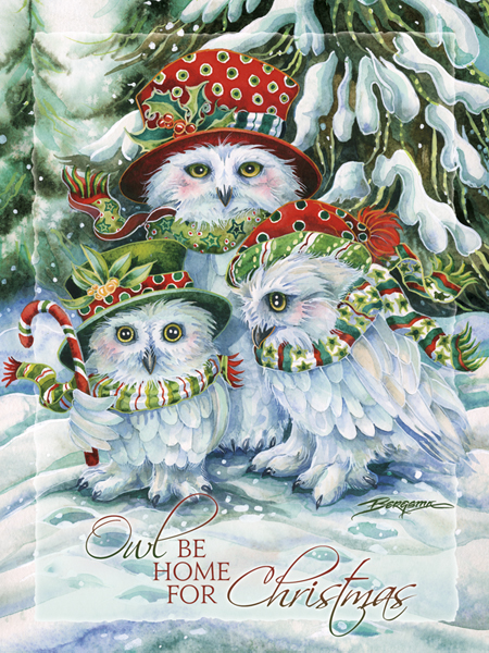 OWL Be Home For Christmas - Easel Back Tile