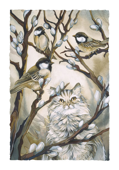Cats / Here Birdie, Birdie - Art Card