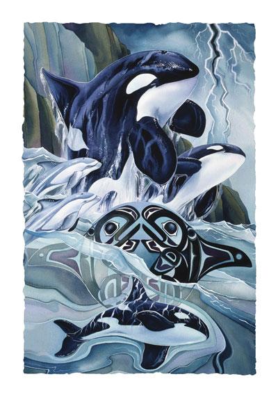 Whales (Orca) / Breath Of Power - Art Card