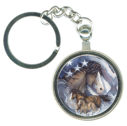 Horses (Patriotic) / Spirit of Freedom - Key Chain