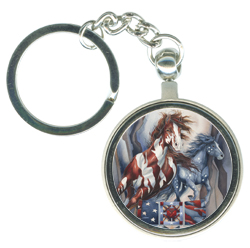 Horses (Patriotic) / Passion for Freedom - Key Chain