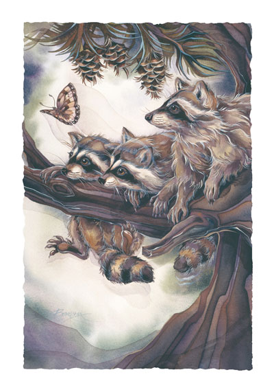 Raccoons / Mischief, Curiosity & Trouble - Art Card