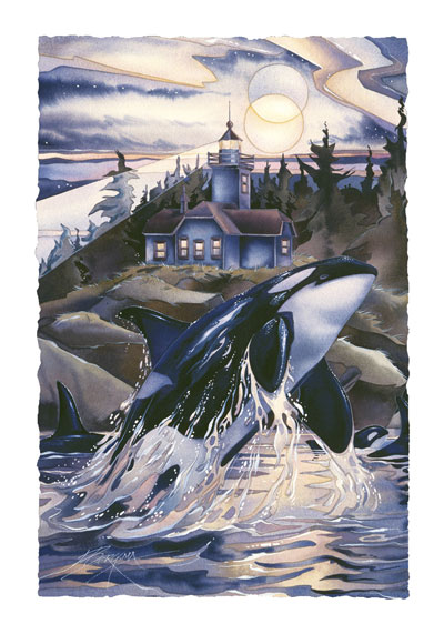 Whales (Orca) / Journey To The Light - Art Card