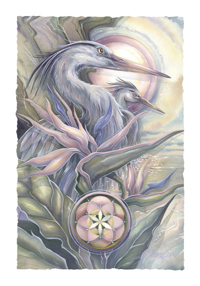 Herons / Held Within A Circle Of Grace - Art Card