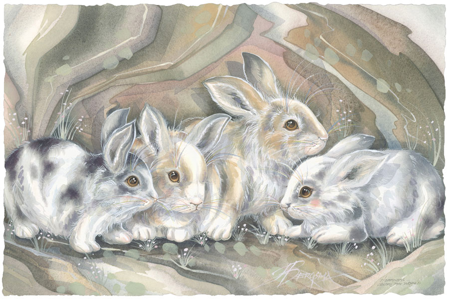 Bunnies / Hoppiness Is Meant To Be Shared - Art Card